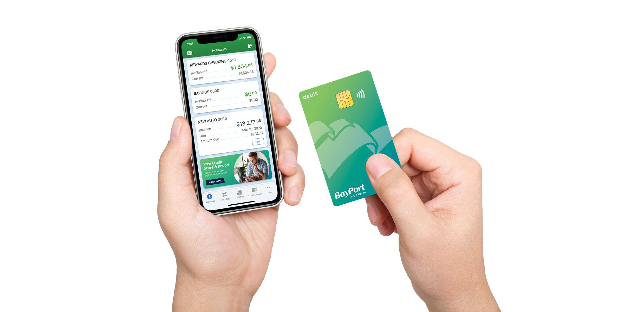mobile banking and BayPort debit card